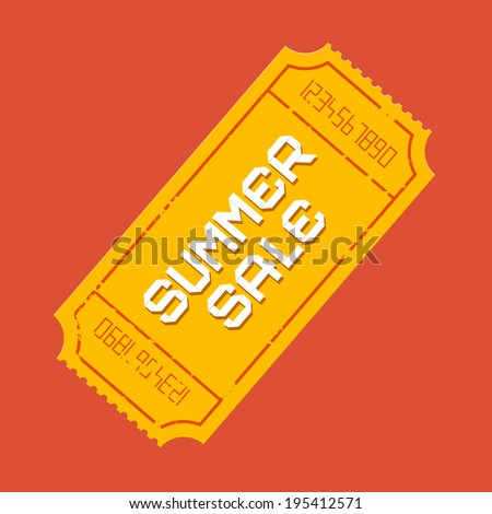 Retro Vector Summer Sale Ticket Illustration  - stock vector
