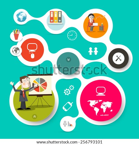 Retro Vector Web Template - Circle Paper Infographic Layout with Technology Icons and Business Man