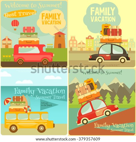 Retro Vehicles with Luggage on Roof. Travel Car. Mountain, Urban, Sea Landscape. Mini Posters Set. Vector Illustration. - stock vector
