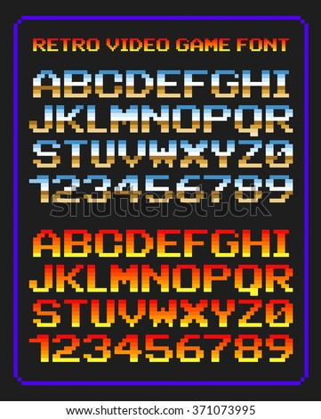 Retro video game font - stock vector