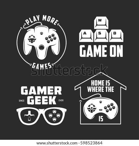retro video games related t shirt design set monochrome joystick set quotes about