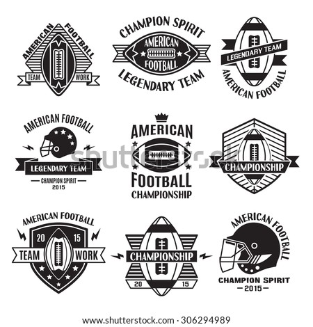 Retro Vintage American Football emblems set, logos, labels, symbols, icons and badges. Business signs,  identity templates and design elements. - stock vector