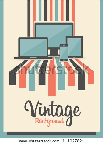 retro vintage background with electric devices - stock vector