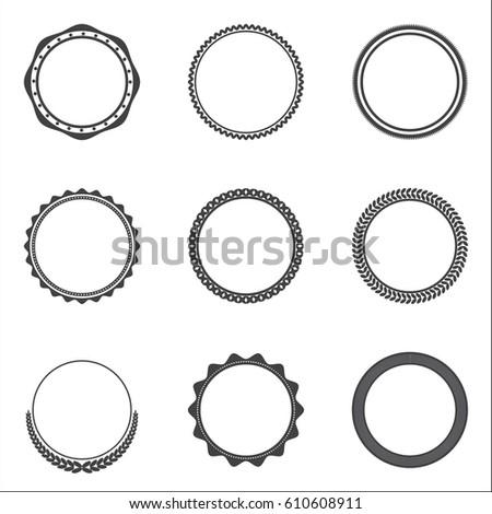 Retro Vintage Badge Label Circle Framevector Stock Vector 610608911 ...