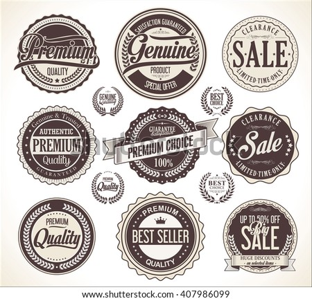 Retro vintage badge and labels collection - stock vector