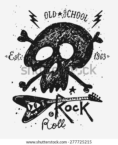 Retro vintage badge or logotype with skull. For design elements, business signs, logos, identity, labels, badges and objects - stock vector