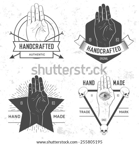 Retro vintage badge, symbol or logotype with hand. For design elements, business signs, logos, identity, labels, badges and objects. - stock vector