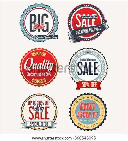Retro vintage badges and labels - stock vector