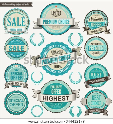 Retro vintage blue badge and labels collection - stock vector