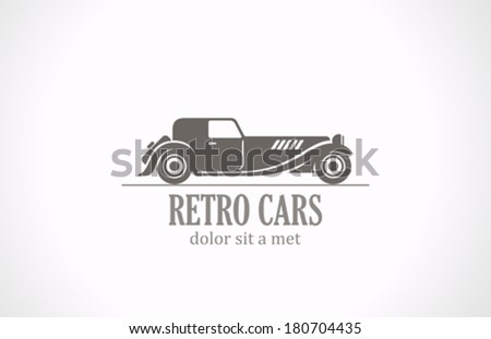 Retro Vintage car silhouette abstract vector logo design template. Old Classic vehicle. - stock vector