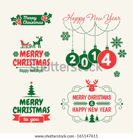 Retro Vintage Christmas set with Typography   - stock vector