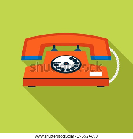 Retro Vintage Communication Symbol Telephone Icon on Stylish Color Background Design Template Vector Illustration - stock vector