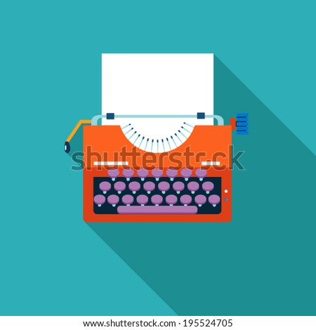 Retro Vintage Creativity Symbol Typewriter and Paper Sheet Icon on Stylish Color Background Design Template Vector Illustration - stock vector