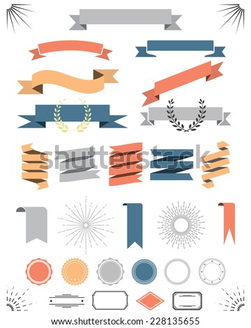 retro vintage elements vector set with ribbons, labels, badges - stock vector