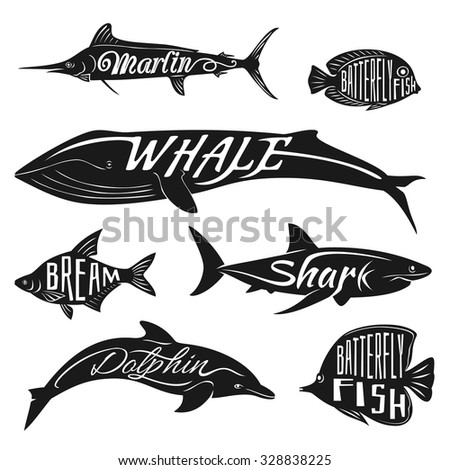 Retro, vintage fish with names. Vector tattoo set bream and dolphin, whale and batterfly, marlin illustration - stock vector