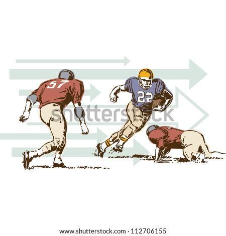 Retro Vintage Football Sports Vector - stock vector