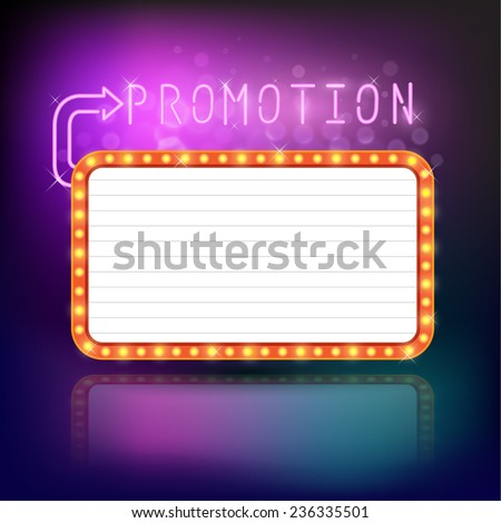 Retro vintage frame banner promotion - light bulb shimmering casino or cinema theater sign. Vector illustration. - stock vector
