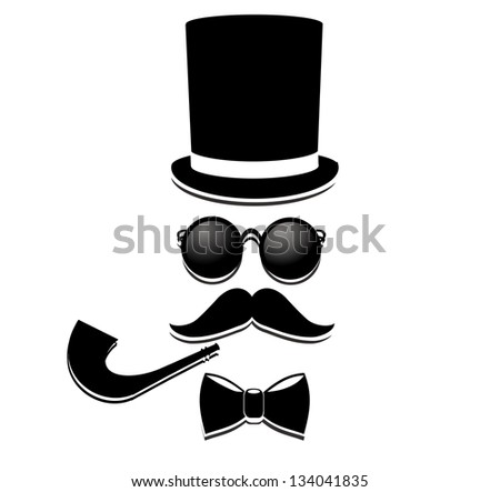 Retro, vintage gentleman accessories isolated on white background. Vector illustration. - stock vector