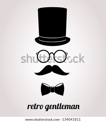Retro, vintage gentleman accessories. Vector illustration. - stock vector