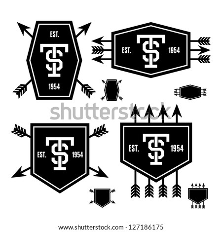 retro vintage geometric label with arrow and shield - stock vector