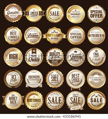 Retro vintage golden badges and labels collection - stock vector