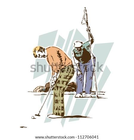 Retro Vintage Golf Sports Vector - stock vector