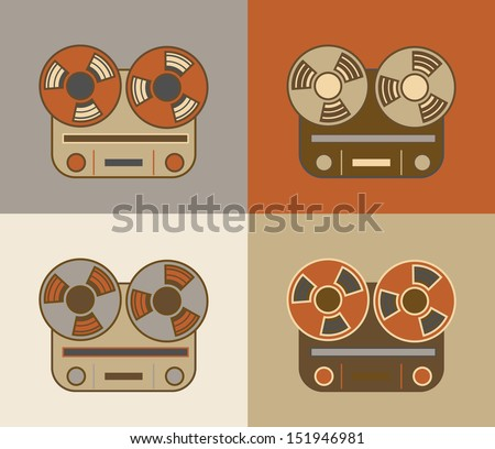 Retro vintage grunge reel to reel tape recorder icon - stock vector