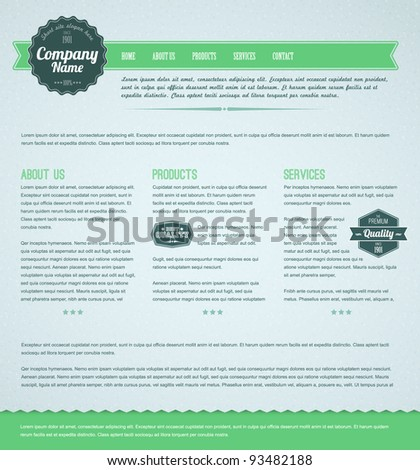 Retro vintage grunge web page template - green version - stock vector