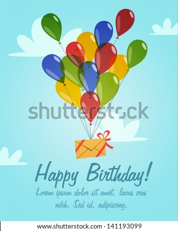Retro vintage happy birthday card with balloons - stock vector