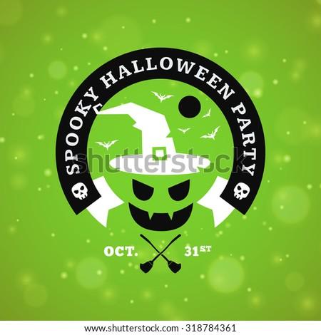Retro Vintage Happy Halloween Badge. Night Party. Vector Illustration