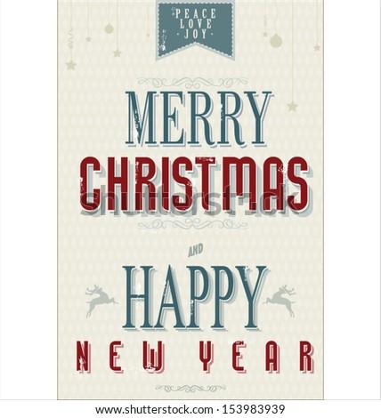 Retro Vintage Happy New Year Background - stock vector