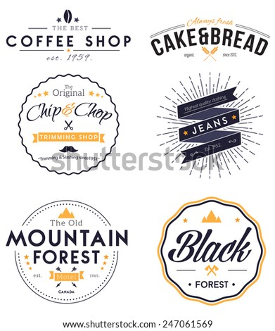 Retro Vintage Insignias or Logotypes set - stock vector
