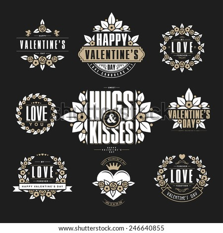 Retro Vintage Insignias or Logotypes set for Valentine's day. Vector tags, calligraphic and typographic elements,signs, logos, labels, badges and objects.  - stock vector