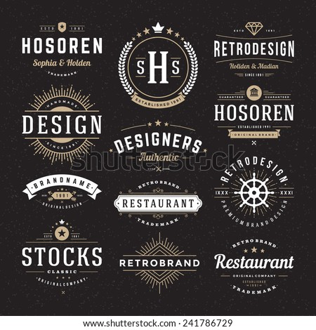 Retro Vintage Insignias or Logotypes set. Vector design elements, business signs, logos, identity, labels, badges and objects.  - stock vector
