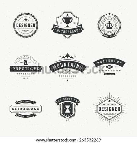Retro Vintage Insignias or Logotypes set. Vector design elements, business signs, logos, identity, labels, badges, apparel, t- shirts, ribbons, stickers and other branding objects. - stock vector
