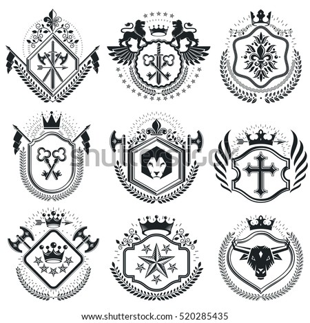 Retro vintage Insignias. Vector design elements. Coat of Arms collection, vector set.