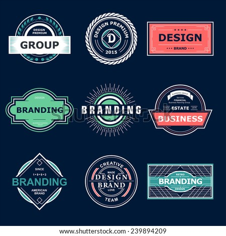 Retro Vintage labels or Logo. Vector design elements business signs branding  badges objects.