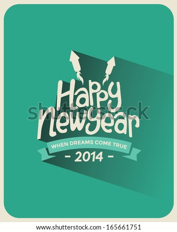 Retro Vintage Long Shadow Happy New Year Greeting Card with Typography  - stock vector