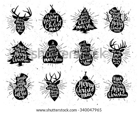 Retro Vintage Minimal Christmas Background Collection with Hand Drawn Typography  - stock vector