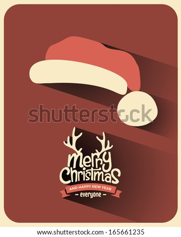 Retro Vintage Minimal Long Shadow Merry Christmas Background with Typography  - stock vector