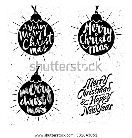 Retro Vintage Minimal Merry Christmas Background Collection with Hand Drawn Typography  - stock vector