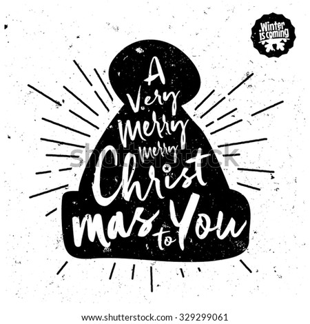 Retro Vintage Minimal Merry Christmas Background with Hand Drawn Typography  - stock vector