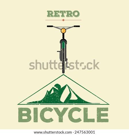 retro vintage mountain bicycle icon illustration  - stock vector