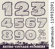 Retro Vintage Numbers. black and white version. Vector - stock photo