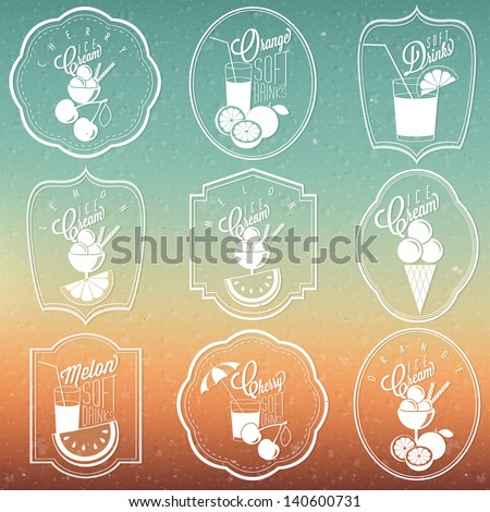Retro vintage ornament collection for Ice Cream and Soft drinks.  Set of Calligraphic titles and symbols for Ice Cream and Soft Drinks type.  For Summer Holiday Party. Hand made style.  Vector. Sun - stock vector