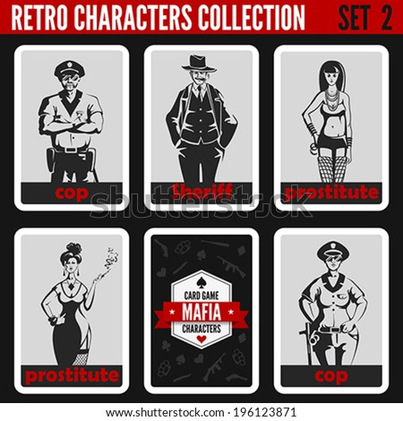 Retro vintage people collection. Mafia noir style. Cops, Sheriff, Prostitutes.  Professions silhouettes. - stock vector