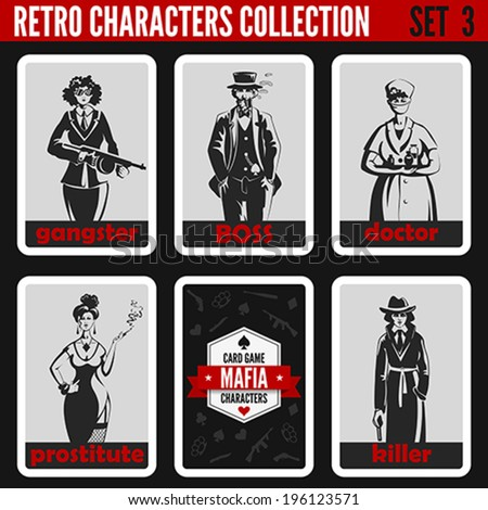 Retro vintage people collection. Mafia noir style. Gangsters, Boss, Doctor, Prostitute, Killer.  Professions silhouettes. - stock vector