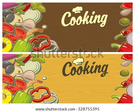 Retro Vintage poster cutting board and the vegetables. Vector Illustration for menus, banner, web design, advertising. - stock vector