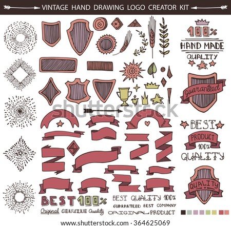 Retro Vintage Premium Quality Labels creator set.Hand drawn Vector design elements,signs,logos,identity,labels,badges,logotypes,stickers and stamps. Original,Guaranteed,Best and other text. - stock vector