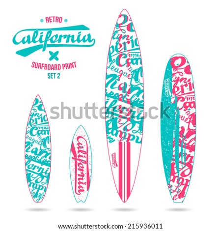 Retro vintage prints for various forms of surfboard: shortboard, longboard; fish and gun.